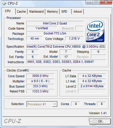 Intel Core 2 Extreme QX9650 – CPU-Z