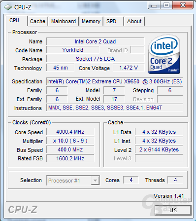 Core 2 Extreme QX9650 bei 4 GHz stabil