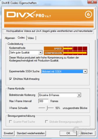 DivX 6.7 mit SSE4