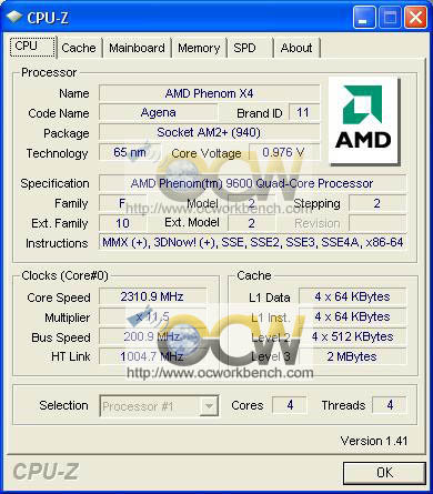 CPU-Z vom Phenom 9600