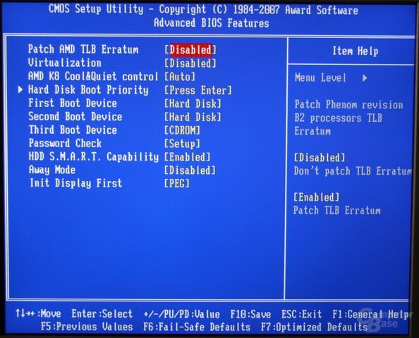 BIOS-Einstellung zum TLB-Patch