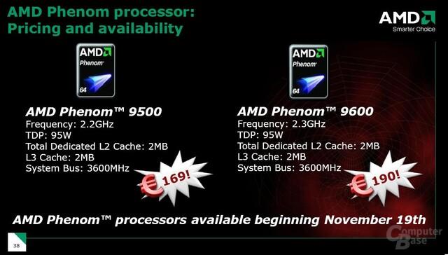 Preisgestaltung des AMD Phenom