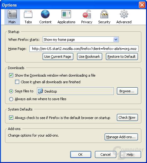 Firefox 3.0 – Einstellungen