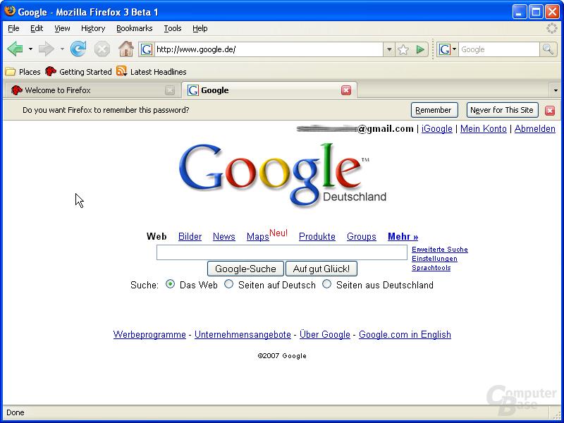 Firefox 3.0 – Passwortspeicher