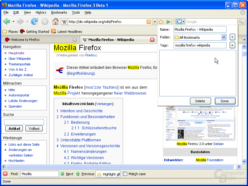 Firefox 3.0 – Lesezeichen-Tags