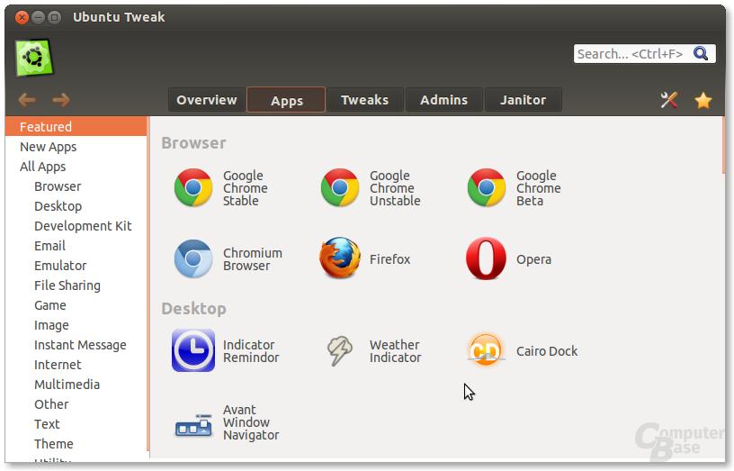 Apps in Ubuntu Tweak 0.8
