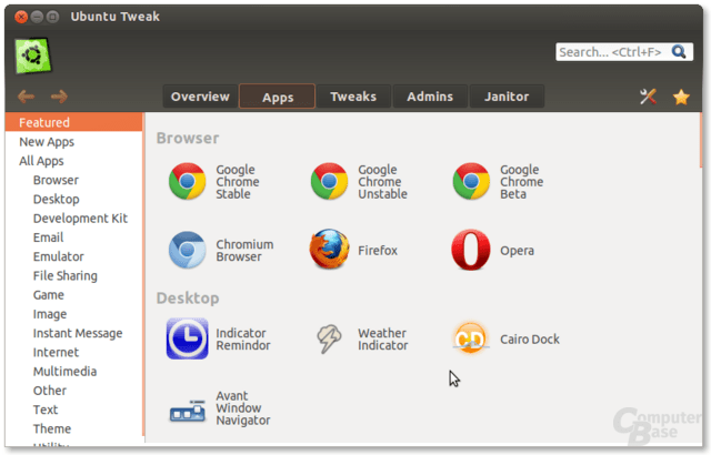 Apps in Ubuntu Tweak 0.8