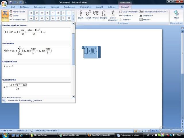 Microsoft Word 2007 – Formeln leicht gemacht