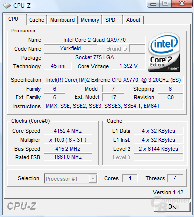 Intel Core 2 Extreme QX9770 @ 4,15 GHz