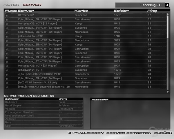 UT 3 Server-Interface