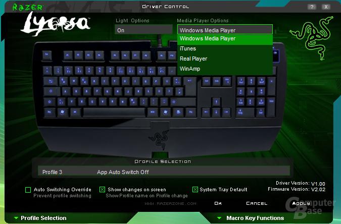 Treiber-Software der Razer Lycosa