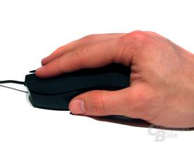 Gewöhnungsbedürftige Handauflage, eher für große Hände geeignet