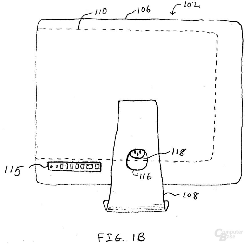 Schemazeichnung einer Dockingstation mit Monitor von Apple