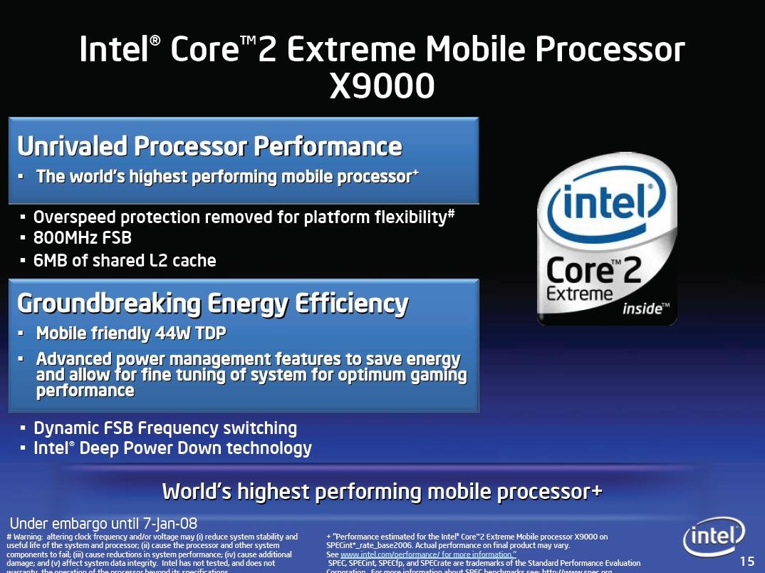 Intel Core 2 Extreme Mobile X9000