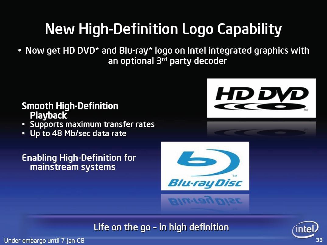 Blu-ray- und HD DVD-Logo gibt es weiterhin nur mittels zusätzlichen (nicht Intel) Chip