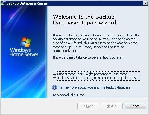 Windows Home Server Backup Datenbank Wiederherstellung