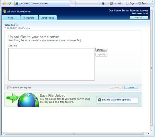 Windows Home Server Datei-Upload