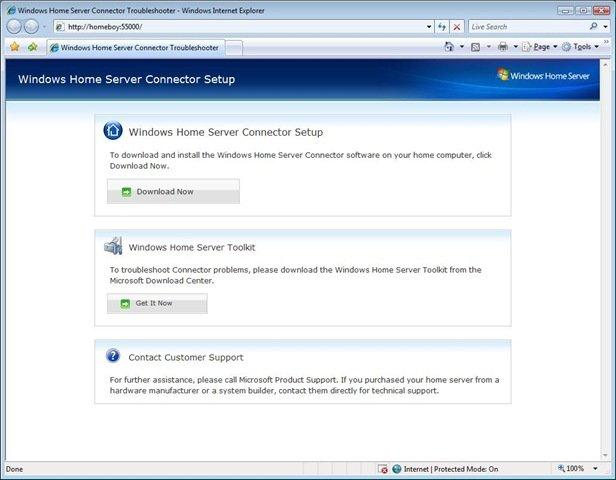 Windows Home Server Connector Setup