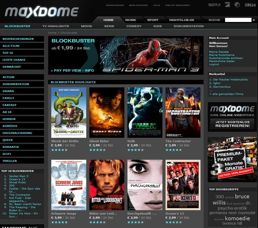 Maxdome Film-Bereich