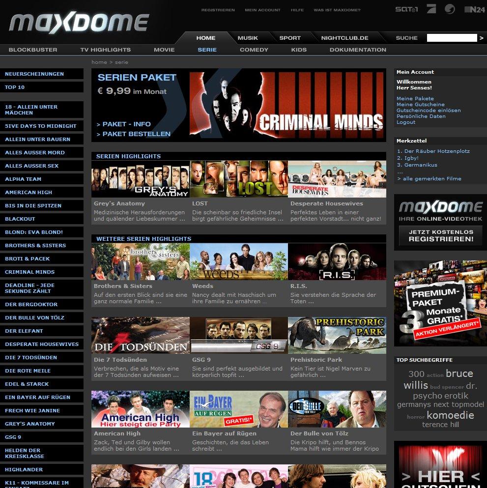 Maxdome Serien-Bereich