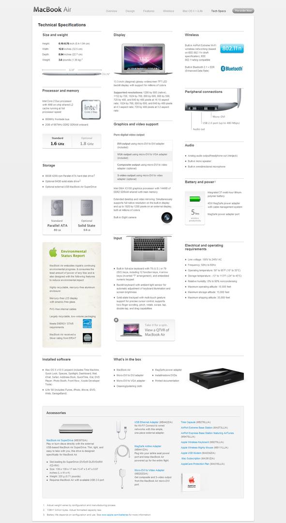 Apple Macbook Air Spezifikationen