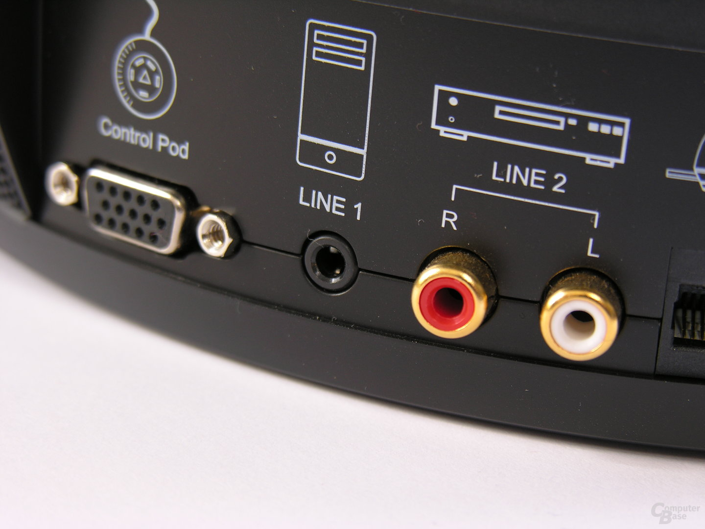Audio-Eingänge und Controlpod-Anschluss am Subwoofer
