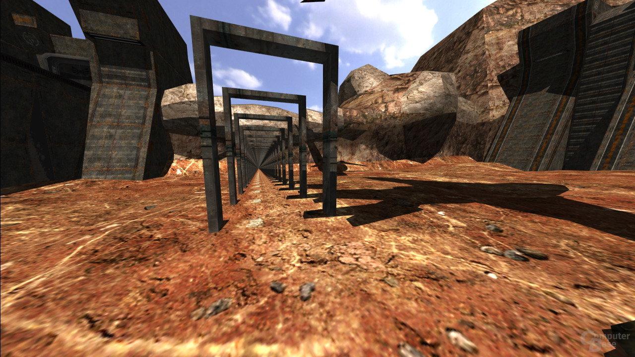 Szene aus Quake 4: Raytraced. In der Mitte ist die Anzahl der Portale in Portalen bei 130.