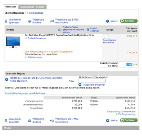 UltraSharp 3008WFP bei Dell