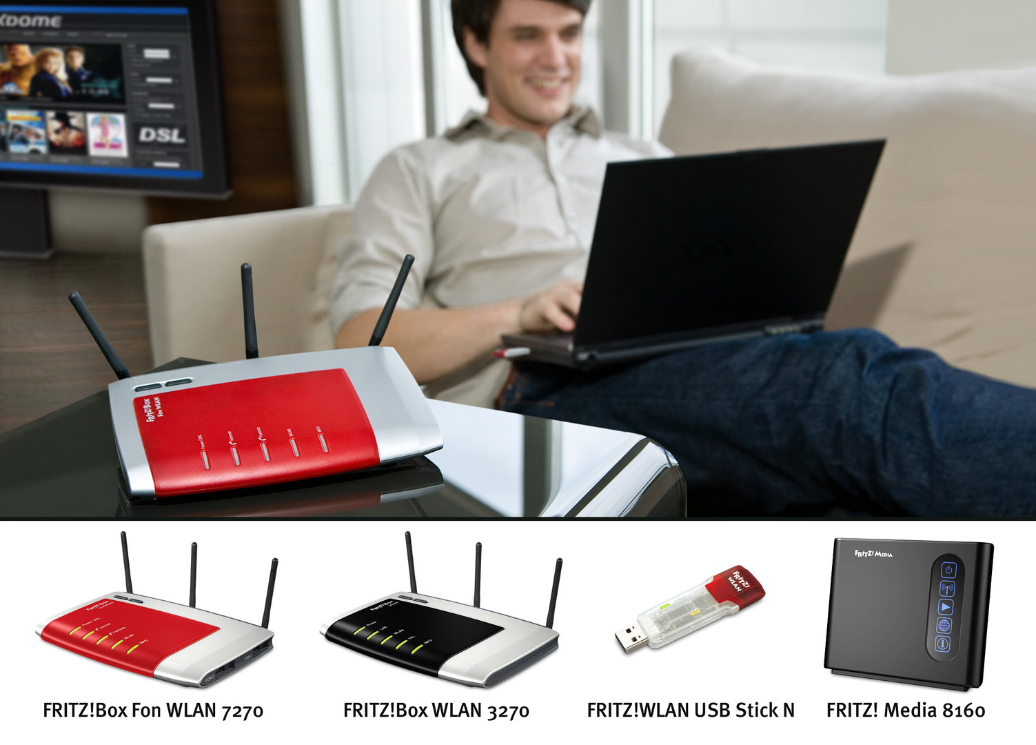 AVM: Neuvorstellung der CeBIT 2008 (FRITZ!Box WLAN 3270, FRITZ! Media 8160, FRITZ!WLAN Repeater, FRITZ!WLAN USB Stick N)