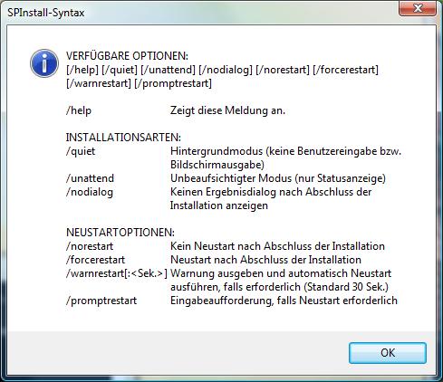 Windows Vista SP1 Optionen