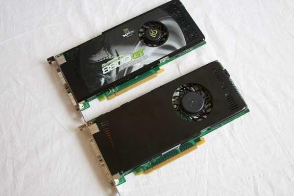 Nvidia GeForce 9600 GT (unten)