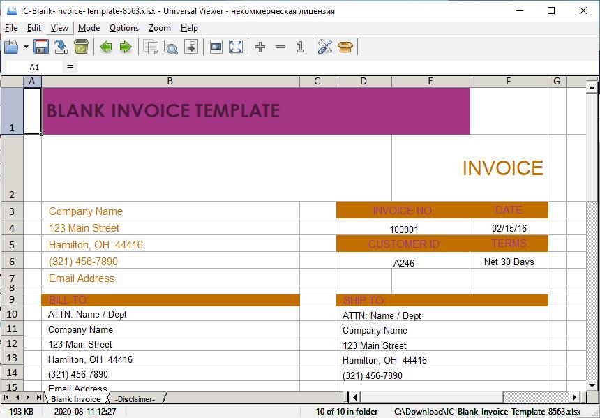Universal Viewer – Excel document