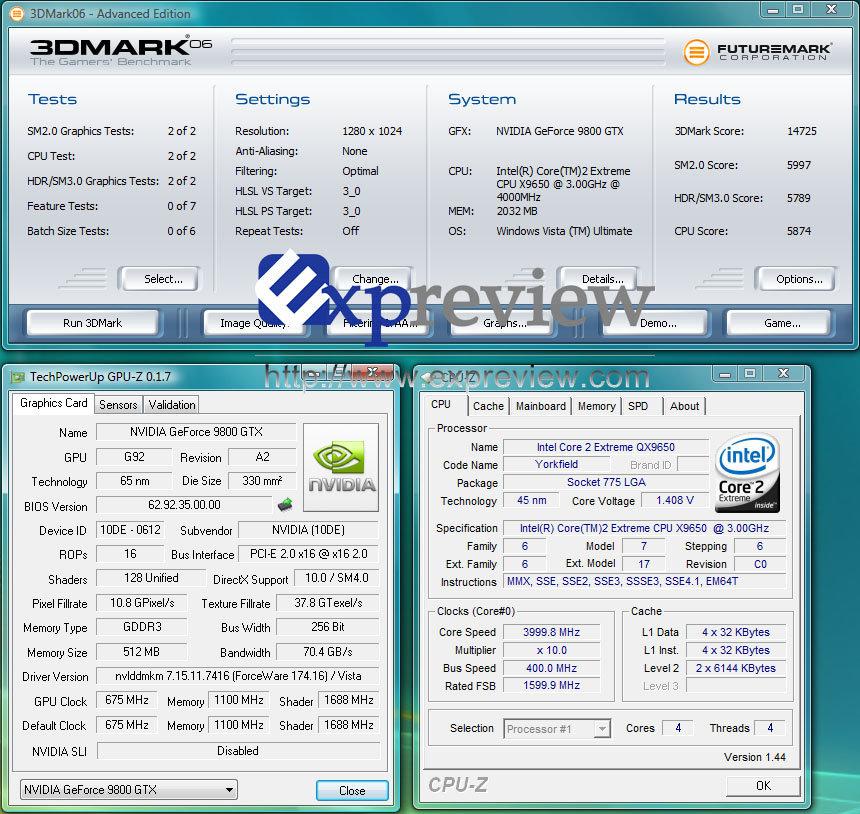 GeForce 9800 GTX mit 4-GHz-CPU