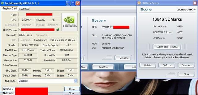 Fälschung eines GT200 Benchmark, GPU-Z, 3DMark06