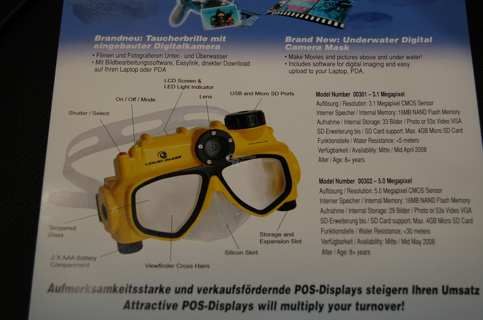 Taucherbrille mit integrierter 5-Megapixel-Kamera