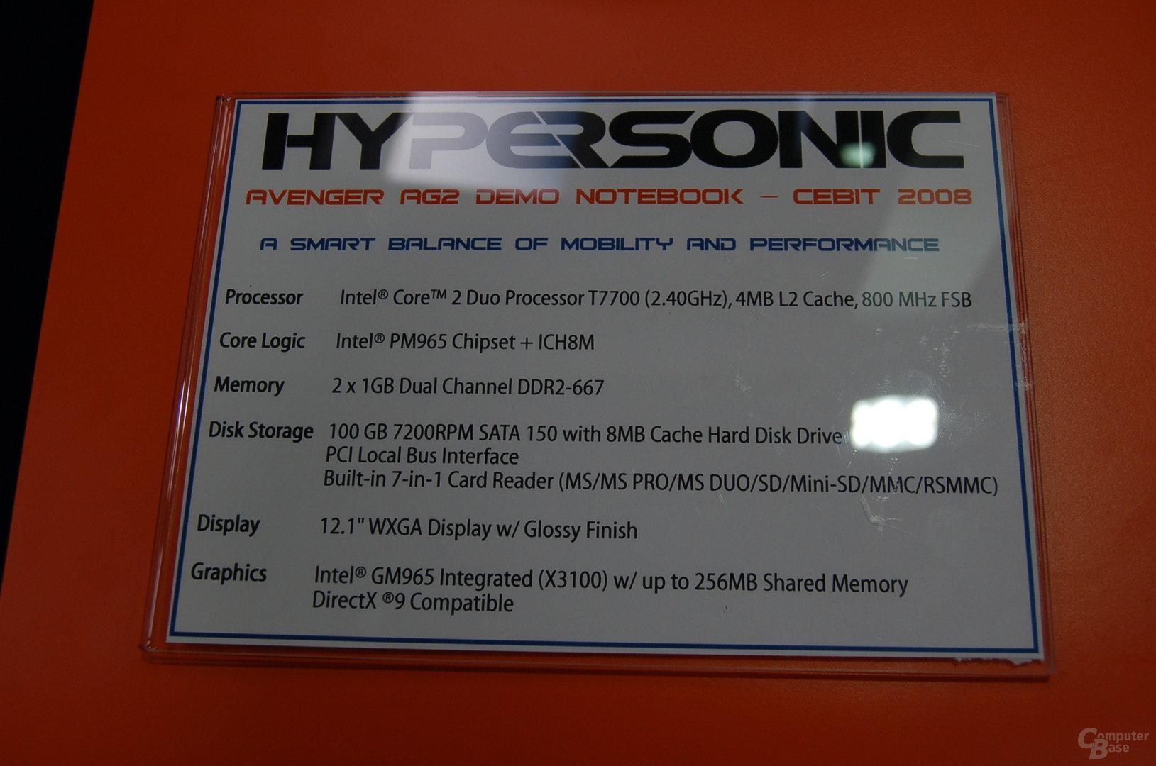 Technische Daten Hypersonic Avenger AG2