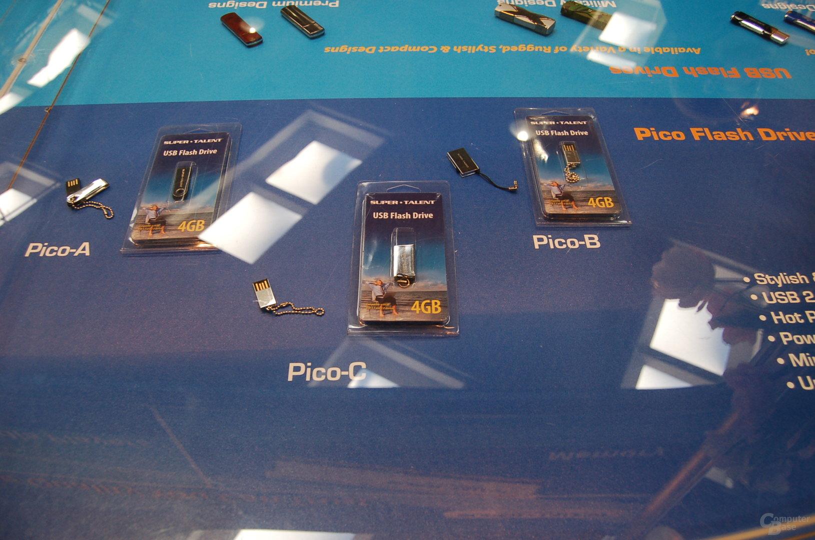 """Trend zu kleineren USB-Sticks der """"Pico""""-Serie bei Super Talent, erhältlich in Kapazitäten von 1 bis 4 GB"""