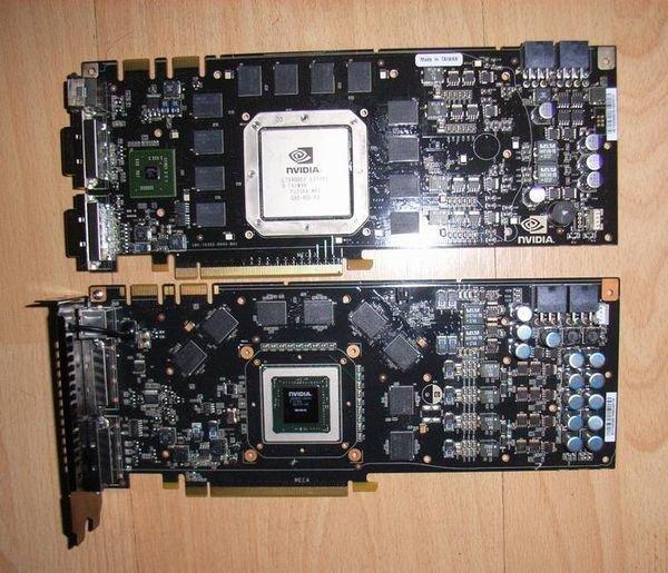 Nvidia GeForce 9800 GTX (unten)