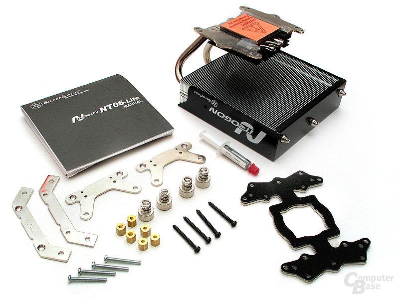 Lieferumfang des NT06 mit reichlich Montagematerial