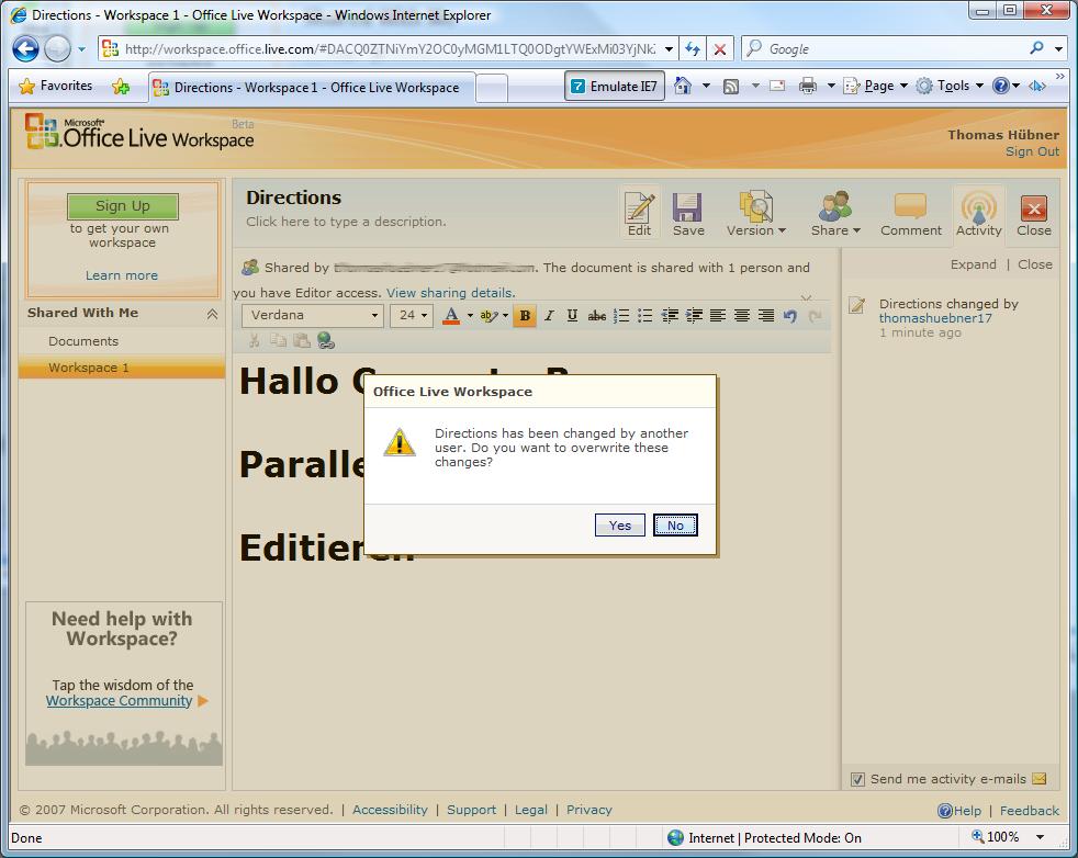 Gleichzeitiges Editieren von Dokumenten ist problematisch