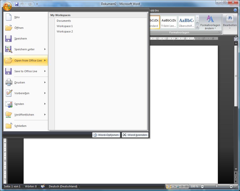 Office Live bindet sich in Word Exel und Outlook ein