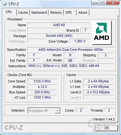 AMD Athlon X2 4850e bei 3125 MHz