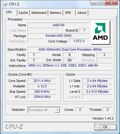 AMD Athlon X2 4850e bei 1,075 Volt