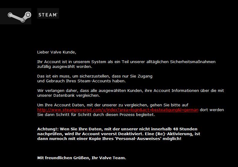 Inhalt der Phishing-Mail