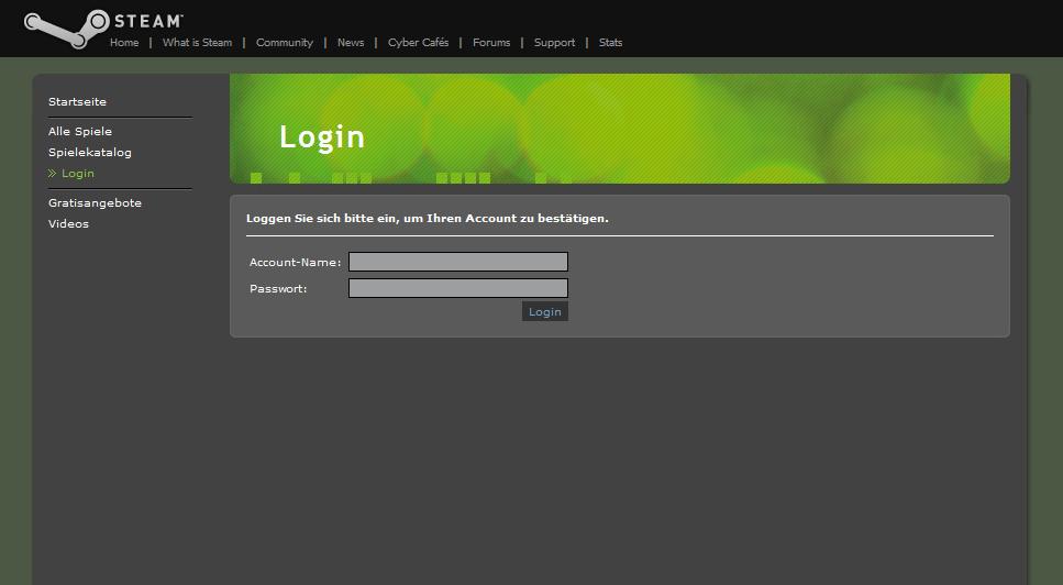 Imitat der Steam-Webseite