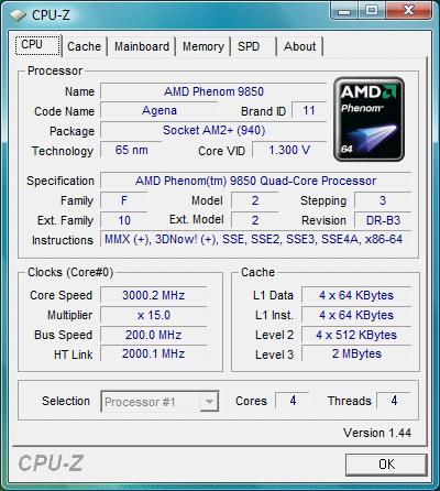 CPU-Z vom Phenom 9850 @ 3 GHz