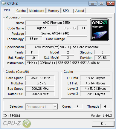 AMD Phenom 9850 Black Edition auf 3,5 GHz