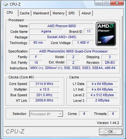 AMD Phenom X4 9850 Black Edition bei 3,1 GHz mit Luftkühlung