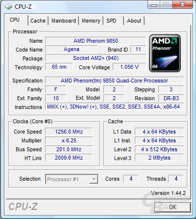 AMD Phenom X4 9850 Black Edition mit Cool'n'Quiet