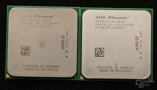 AMD Phenom 9600 BE links, Phenom X4 9850 BE rechts